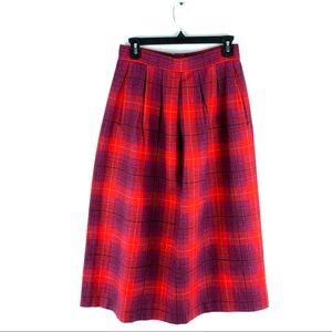 PENDLETON Wool Midi Skirt Pleated Plaid High Rise